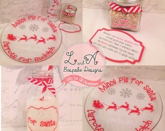 Christmas Glass Set, Santa Rudolph, Plate, Gift Glass
