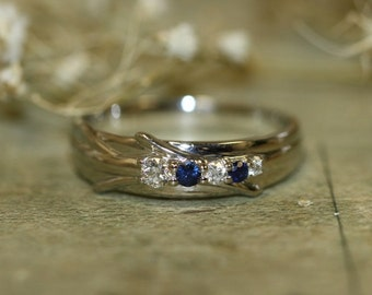 Natural Blue Sapphire and Diamond Wedding Ring Band in 14k White Gold Ready to Ship Unique Gemstone and Diamond Men's Wedding Ring