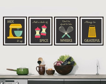 Retro Kitchen Art - Kitchen Utensils - Kitchen Prints - Puns - Set of Four -  Mid Century Inspired Kitchen Decor