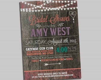 Country Chic Bridal Shower Invitation - PRINTABLE DIGITAL FILE