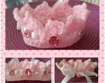 Pink Princess Tiara/Crown for newborn baby girls with ribbon and diamantes