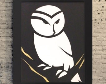 "8.5x11"" Barn Owl Minimalist Art, Barn Owl Paper Cutout, Paper Cutout Illustration, Barn Owl Illustration, Barn Owl Gift, Owl Gift"