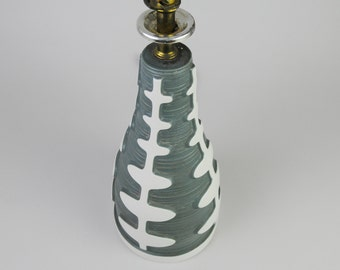 gallerymichel Mid Century Pear Shaped Ceramic Table Lamp Gray Green with Raised White Pattern