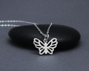 Butterfly Necklace Sterling Silver 925 Tiny Butterfly Pendant, Small Butterfly Charm Necklace