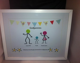DepictureIt Personalised Godparents Framed Button Picture