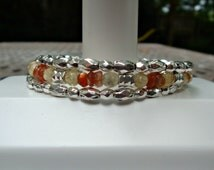 Primitive Faceted Citrine Drusy and Faceted Sunstone Rondelle Memory Wire Wrap Bracelet From The Flower Garden Collection