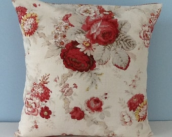 Waverly Norfolk Rose pillow cover. Shabby cottage chic throw pillow. Cabbage roses. French country Cottage decor Floral Decorator pillow