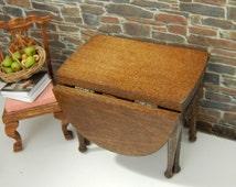 Vintage Used Wood Oval Drop Leaf Table,  Miniature 1:12 scale Dollhouse Furniture