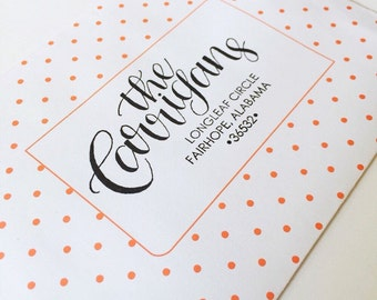 Custom Hand-lettered Address Stamp: New Carrigan Style