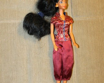 SALE: Vintage Barbie Doll w Great Black Hair & Fabulous Shiny, Silky Outfit, 1992, Mattel, Barbie Clothing, Fashion, Doll, Doll Clothing