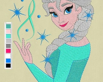 Elsa Frozen embroidery design 5x7 pes hus jef files