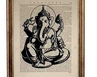 GANESHA Hindu pantheon Elephant God Ganesh Print on vintage dictionary Page, Antique Book Page Dictionary art print Mixed Media 8'' x 10''