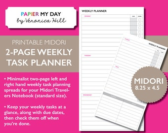 Midori Task Planner - Two Page Weekly Task Planner Printable for travelers notebooks