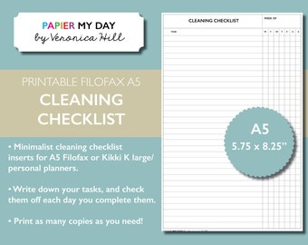 A5 Filofax Cleaning Checklist - Printable Cleaning Checklist for Filofax A5 and Kikki K Large Planners