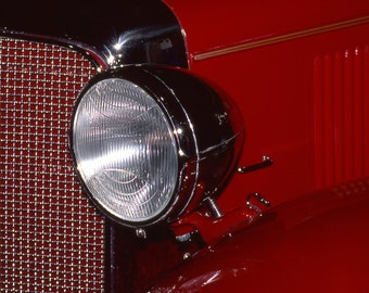 Classic Car Headlight Fine Art Photography Wall Photo Print, Red Car Show Hot Rod Automobile Ford Light Close Up Design