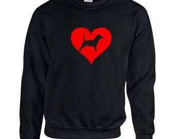 Love Heart Beagle Sweatshirt .Crewneck Sweatshirt. Dog Breed Sweatshirts. Love Heart SweatShirt.