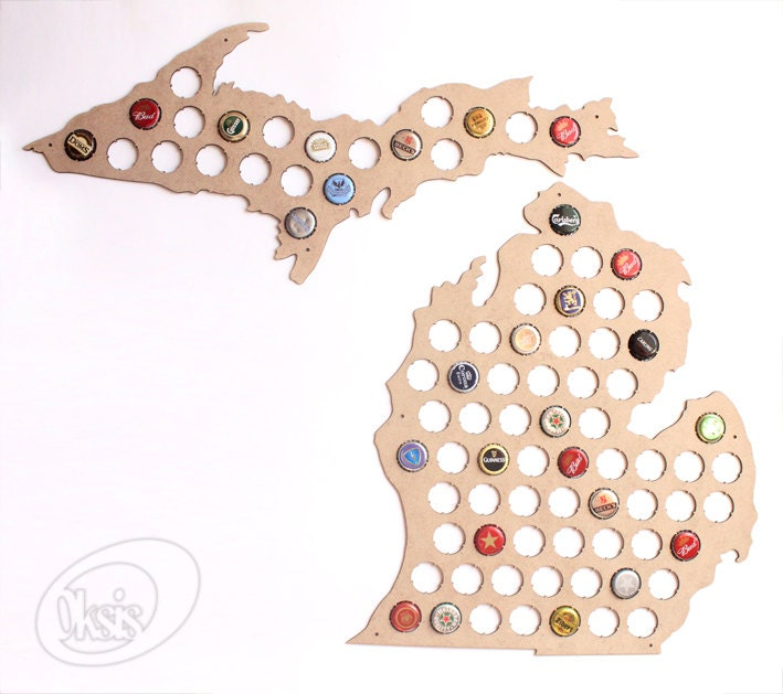Beer Cap Map Michigan Beer Cap Map Beer Cap Holder Gift By