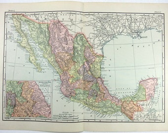 Vintage Original 1896 Map of Mexico by Rand McNally