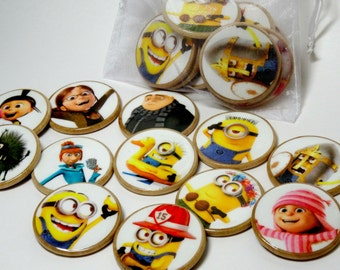Minions wooden memory match game, Minions party game, Minions concentration game, Wooden toy, educational game
