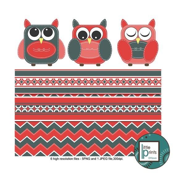Owl Clipart Set Red and Grey Owls Clip art Digital