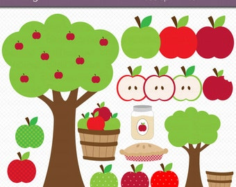 Apple Picking Digital Art Set Clipart Commercial Use Clip Art INSTANT Download Apple Orchard Clipart Fall Autumn Clipart