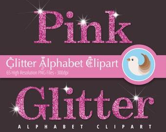 Alphabet Clipart - Glitter Alphabet Clipart - Pink Glitter Alphabet Clipart - Pink Alphabet Clipart - Set of 65 Clipart Designs