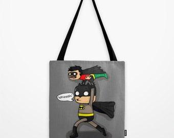 bat dad, comic book, comic art, superhero, tote Bag, gift for her,  school bag, book bag, tote, gift, nappy bag for dad, diaper bag, gift fo