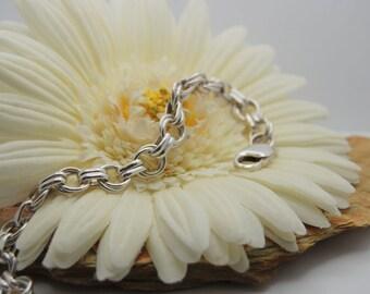Double Link Rolo Sterling Silver Bracelet