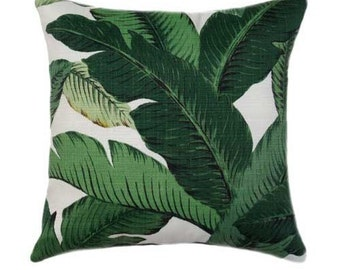 Outdoor Pillow - Palm Leaf Pillow Cover, Green Pillow Covers, Banana Leaf Pillow, Hollywood Regency Decor, Hawaiian Decor, Sunroom Decor