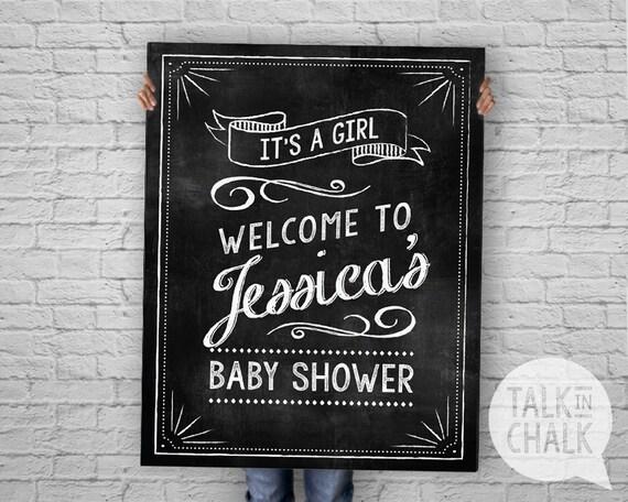 baby shower chalkboard sign welcome baby shower digital file