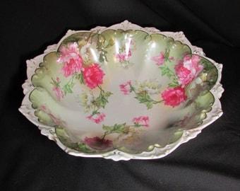 """c1900 Gorgeous M Z Austria 11"""" Fruit Bowl Hand Painted Roses Moritz Zdekaur"""