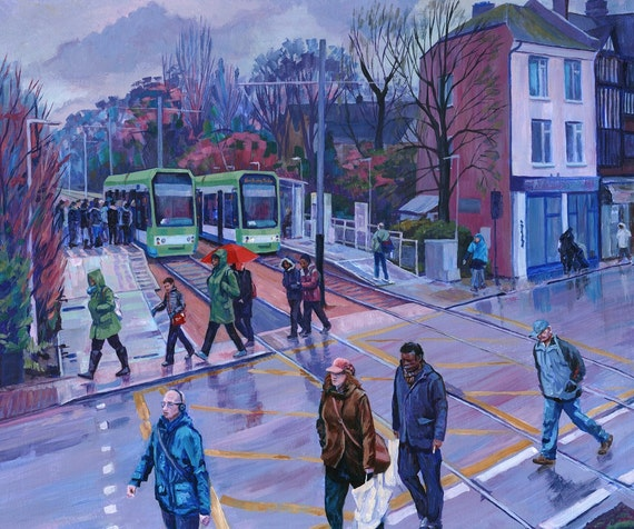 "Walk This Way, print 20""X16"" showing Addiscombe Tram Stop, South London in the rain"