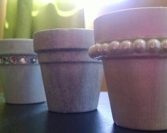 Set of 3 Small Terracotta Pots