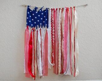 Boho American flag ribbon banner wall art READY TO SHIP