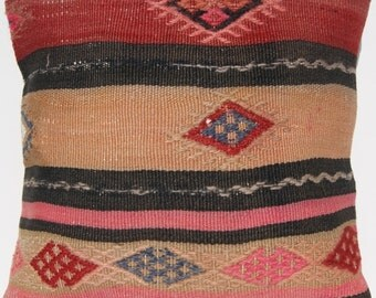 """Sofa pillow cover 16"""" Square hand woven Turkish kilim wool area rug"""