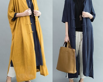 women loose long flax knitted cardigan/BJQZKT001