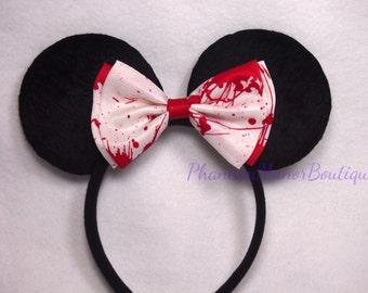 Minnie Mouse Ears - Bloody White Bow Horror Headband Halloween Blood Splatter Mickey