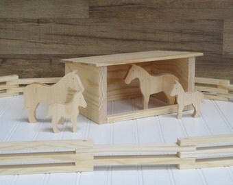 Wooden toy horse stable - Toy barn set - Chids gift - Wooden barn toys - Wooden toy barn - Wooden animal toys - Childrens wooden toys