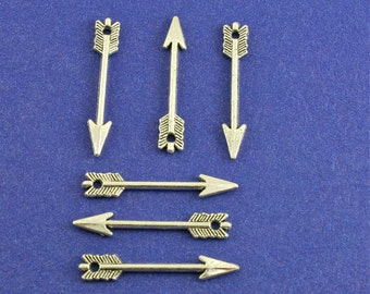 6-10 or 20 pcs -Silver Arrow Charm, 29mm x 5mm, Antiqued Silver Arrow Pendant, Small Arrow Charm