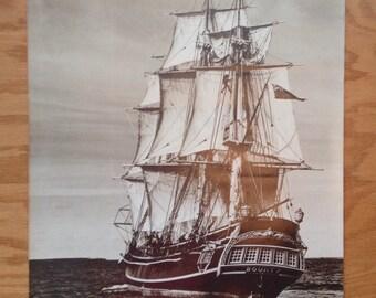 Sepia-Toned Bounty Lunenburgh Ship Sailing Poster Print