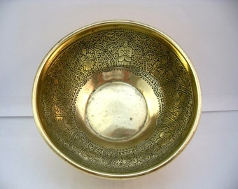 Vintage Kinco Brass Bowl, Brass Trinket Bowl, Decorated Brass Bowl .