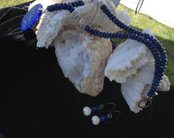 Lapis Pendant Necklace with Mother of Pearl Chips