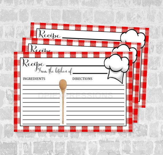 bistro recipe cards  chef hat  red plaid tablecloth recipe