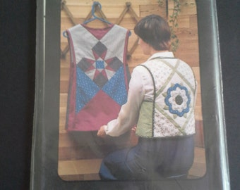 Vintage quilted rose vest and star tabard pattern, The pattern Factory pattern 101, diy quilted rose vest, diy quilted star tabard, quilting