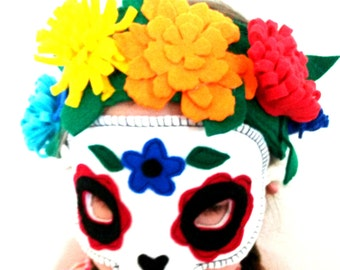 Sugar Skull Mask - Day of the Dead Mask - Dias de los Muertos -  Halloween Mask - Halloween Costume - Dress Up - Fancy Dress - Party Mask