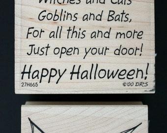Set of Two Happy Halloween & Bat Wood Mounted Rubber Stamps From DRS Designs and Endless Creations, Inc. New