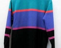 Vintage 1980s Shirt Mock Turtleneck Stripes Women's Size M