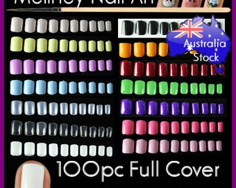 100pc Full Cover Short Nails Colored False Nails manicure acrylic uv gel