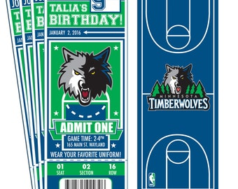 12 Minnesota Timberwolves Custom Birthday Party Ticket Invitations - Officially Licensed by NBA