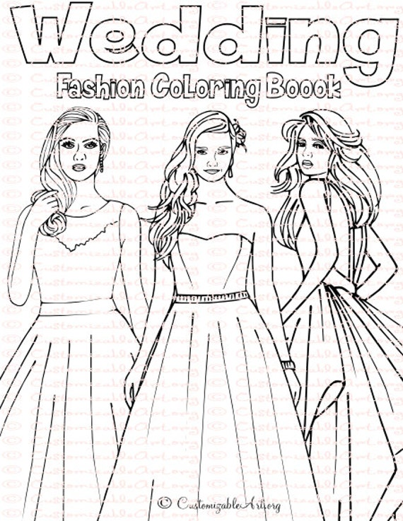 Wedding Coloring Book Bride Pages Bridal Sheets Fashion Dress Digital Printable PDF
